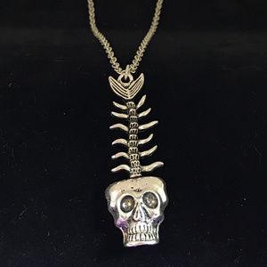 Halloween Skull Fish Silver Pendant Necklace